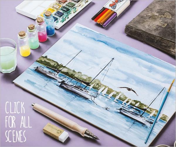 Watercolor Paint Sketch Mock Up