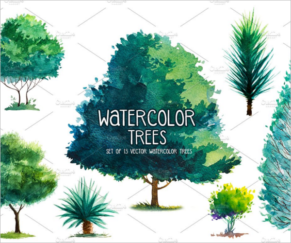Watercolor Sketch Design Trees