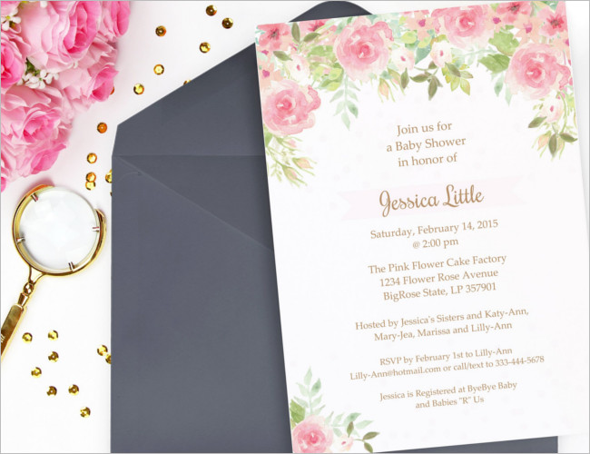 Watercolor shower invitation