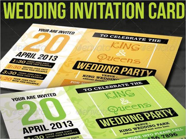 Wedding Party Invitation Card Illustrator Design