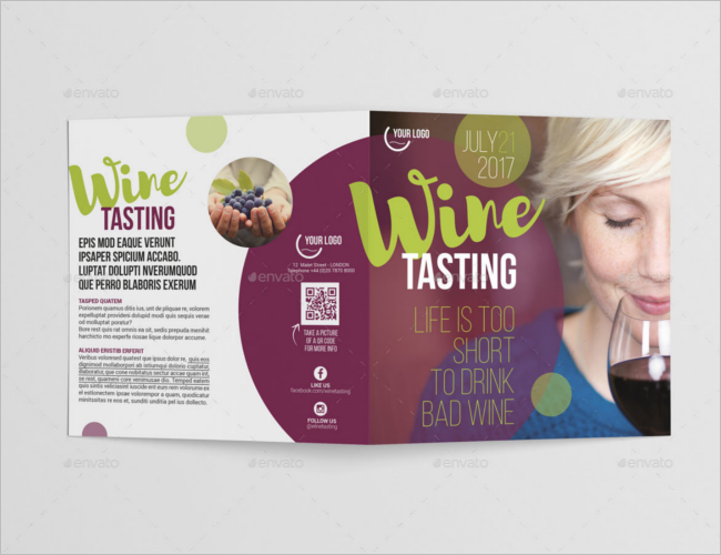 Wine Square Bi-Fold Brochure