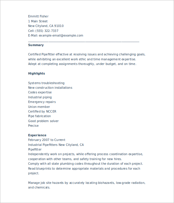 6+ Sample Pipefitter Resume Templates Free PDF Templates