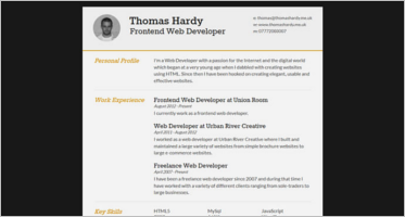 html5 responsive resume templates