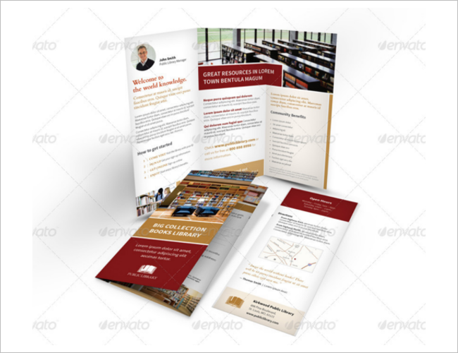 Library Brochure Templates Free PSD Sample Design Ideas - Library brochure templates