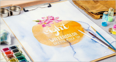 Watercolor Sketch Mockup