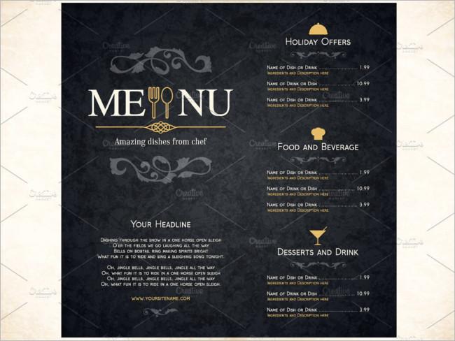 Restaurant Menu Template Brochure