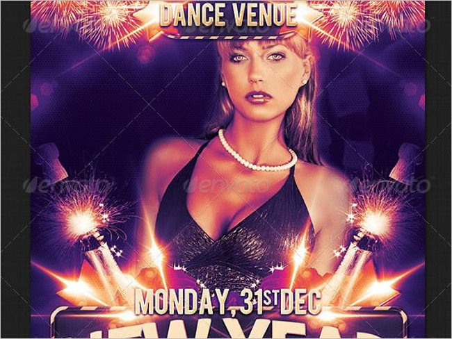 Latest Dance In New year Party Flyer