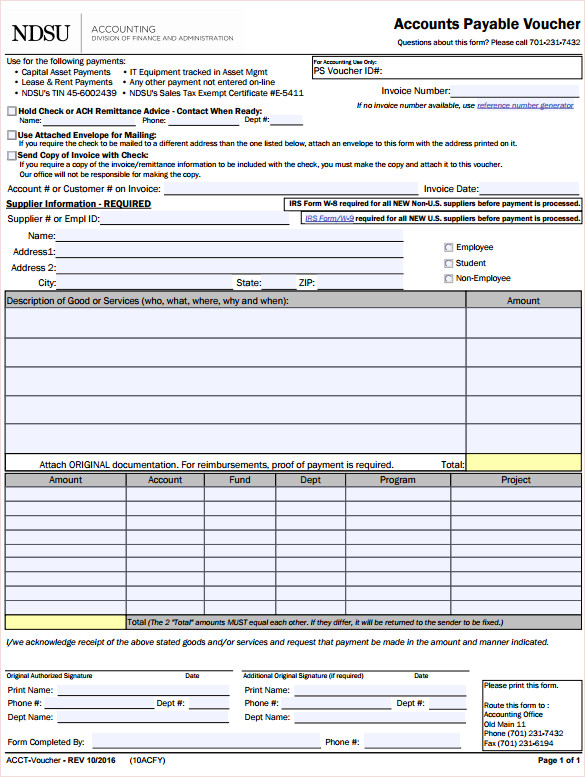 Accounts Payable Vochure Template