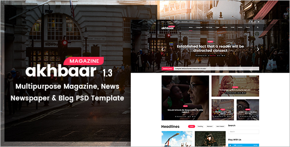 Akhbaar-Newspaper Blogs Cover Magazine Template