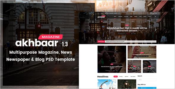 Akhbaar-Newspaper Blogs Cover Magazine Template