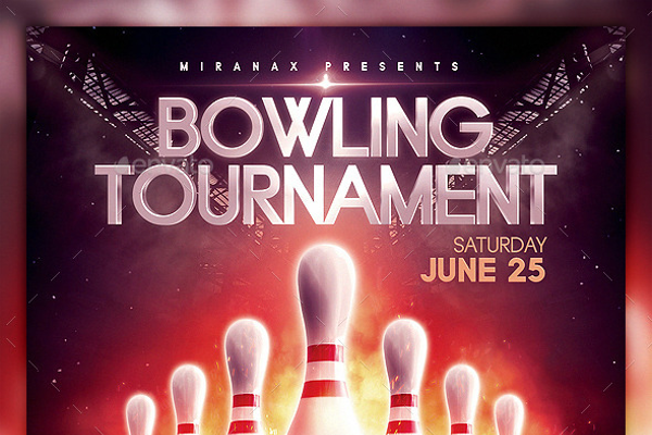 Astonishing bowling event flyer
