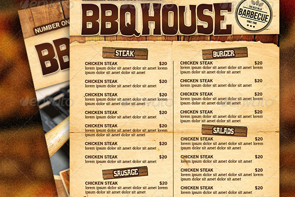 Barbeque Restaurant Menu Flyer