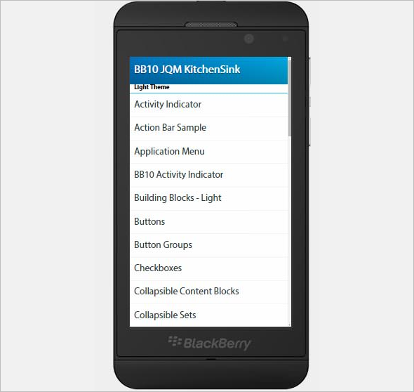 BlackBerry Built Jquery Mobile