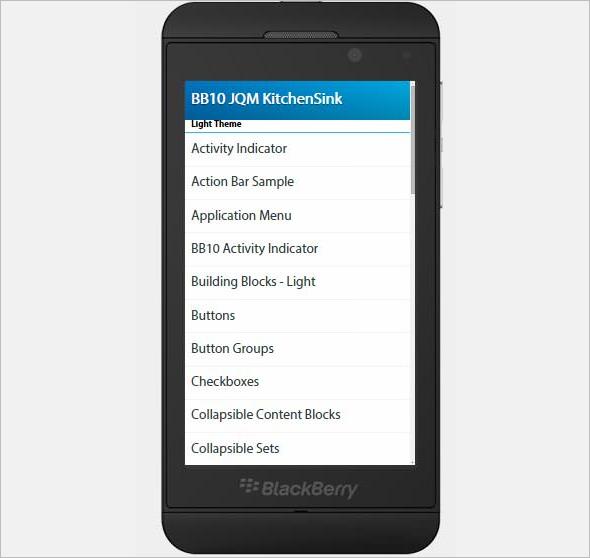 BlackBerry Built Jquery Mobile