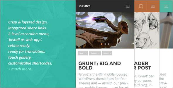 Bold Mobile WordPress template