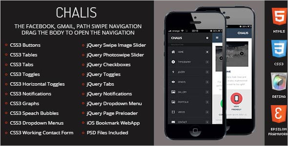 Chalis Jquery mobile template
