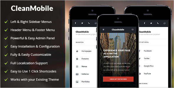 Clean Mobile WordPress Template