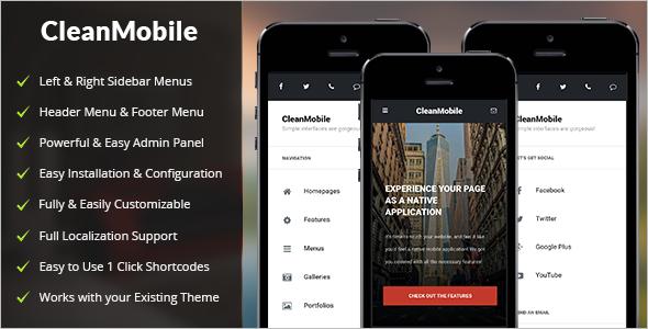 Clean Mobile WordPress Template