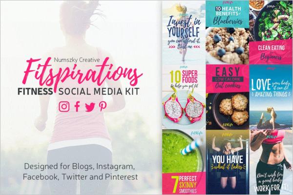 Colorful Social Media Fitness Kit