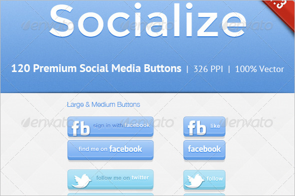 Dribble Social Button Icons