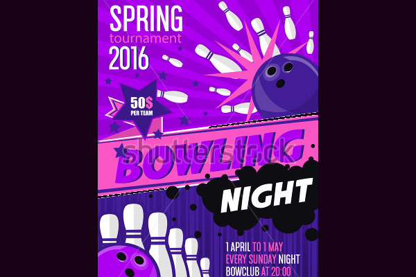 Eye-Catchy Vintage Bowling Flyer