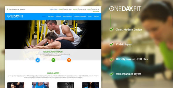 Fitness Club PSD Website Template