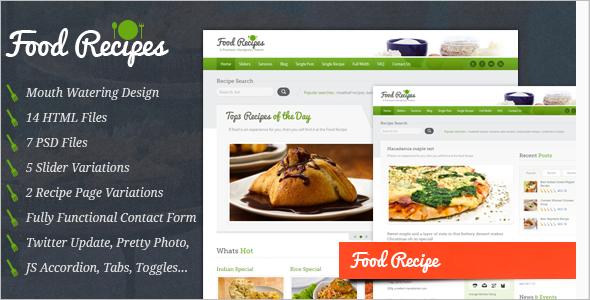 Food Blogs Web Slider Template