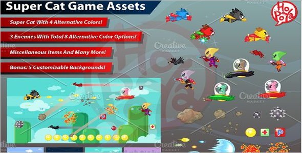 Game Assets Design Super Cat Theme
