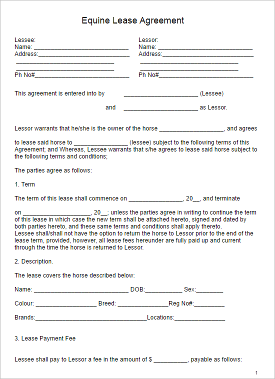 Horse Lease Hold Harmless Agreement Template