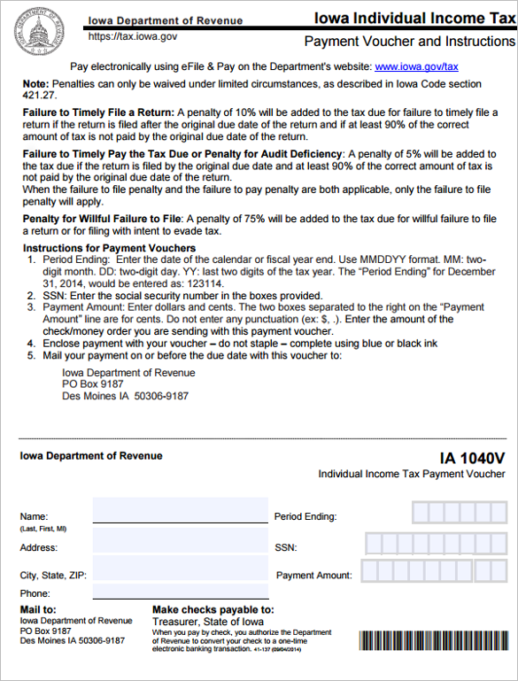 Income Tax Payable Voucher Template