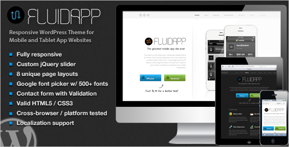 Modern Mobile WordPress Template