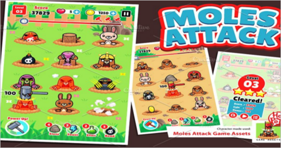 Moles Attack Game Assets Design Template