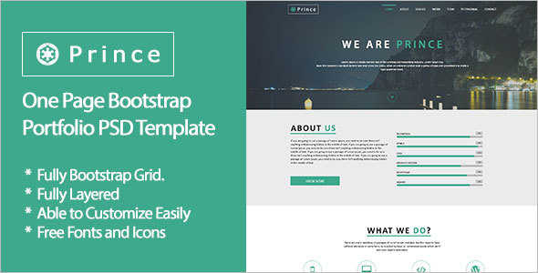 One Page Bootstrap Portfolio Template