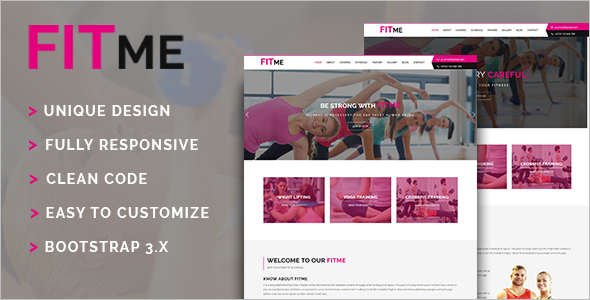One Page Fitness Website Template