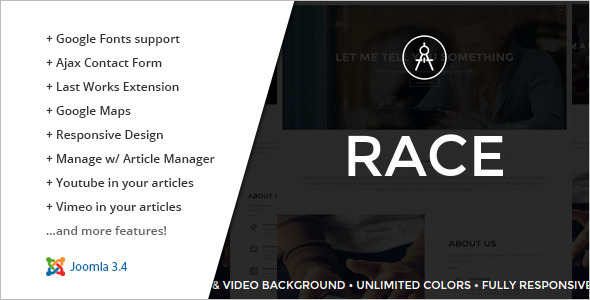 One Page Racing Joomla Template