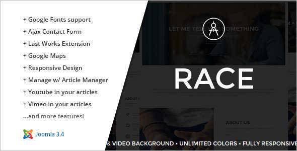 One Page Racing Joomla Template