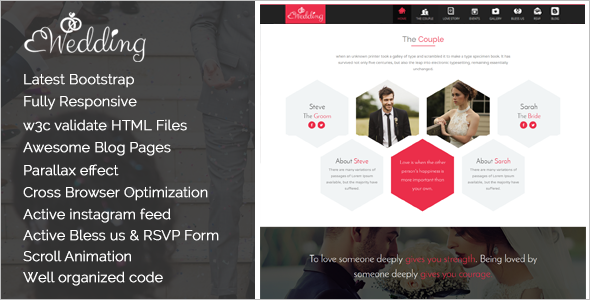 One Page Wedding Blog Template