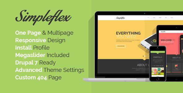 OnePage Flat Design Drupal Template