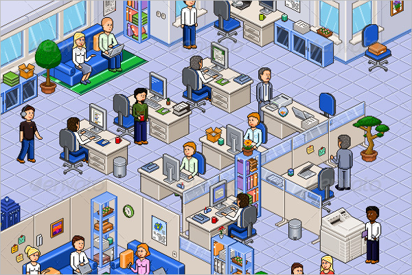 Pixel Art Office Set Design