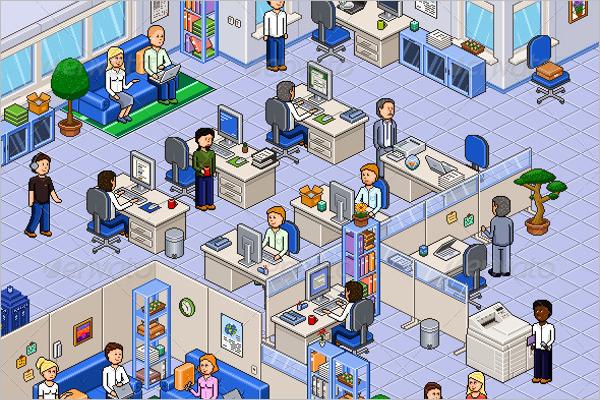 Pixel Art Office Set Design