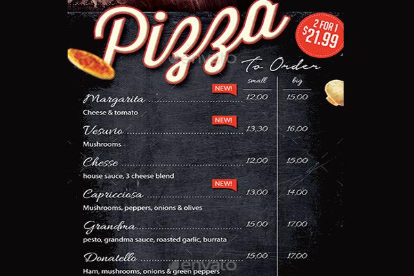 Pizzeria Restaurent Menu Flyer