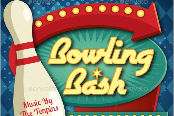 Retro Bowling Bash Flyer