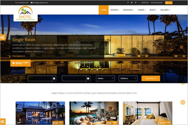Signup Hotel Website Theme