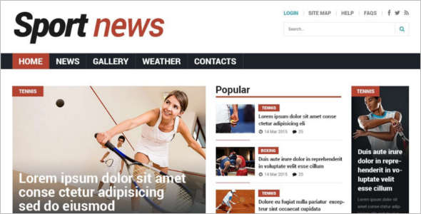 Sport gallery News Joomla Template