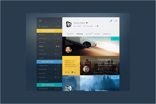 Story Dashboard UI Kit Template