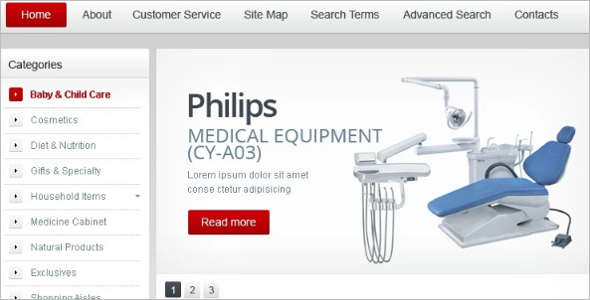 Vintage Hospitals Equipment Magento Template