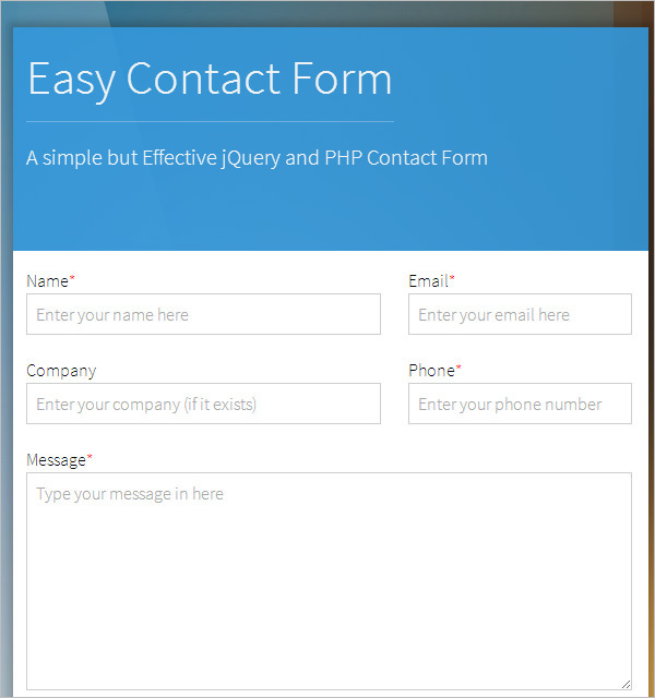 jQuery-PHP-Powered-Easy-Form