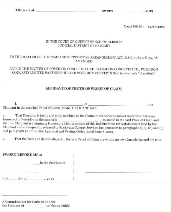 10 Affidavit of Truth Form