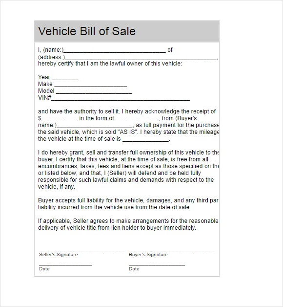 14+ Bill Scale Forms for Vehicle