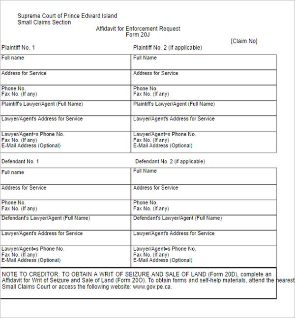 14 Prince Edward Island Affidavit Form